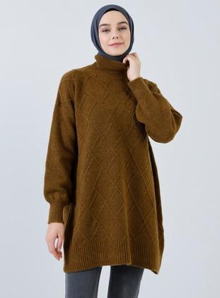 Brown - Polo neck - Acrylic -  - Tunic
