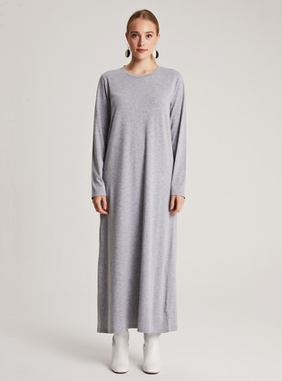 Gray - Crew neck - Unlined -  - Dress