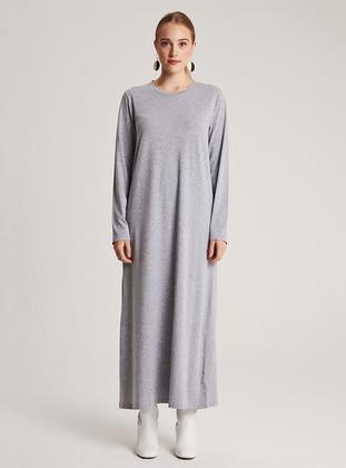 Gray - Crew neck - Unlined -  - Dress