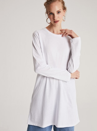 Ecru - Crew neck -  - Tunic