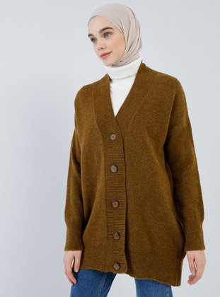 Brown - Yellow - Tan - V neck Collar - Acrylic -  - Cardigan