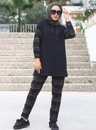 Khaki - Black - Unlined -  - Suit
