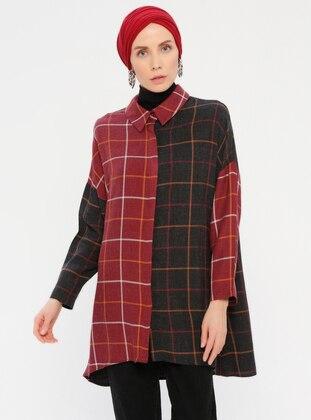 Maroon - Black - Checkered - Point Collar - Tunic