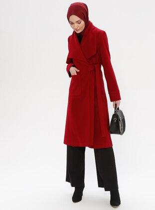 Maroon - Fully Lined - Shawl Collar - Wool Blend - Coat - LOREEN