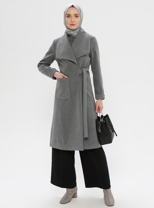 Gray - Fully Lined - Shawl Collar - Wool Blend - Coat - LOREEN