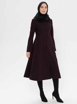 Purple - Fully Lined - Crew neck - Wool Blend - Coat - LOREEN