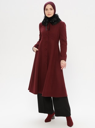 Plum - Fully Lined - Point Collar - Wool Blend - Coat - LOREEN