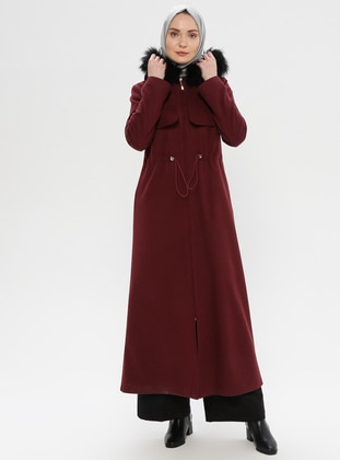 Plum - Fully Lined - Wool Blend - Coat - LOREEN