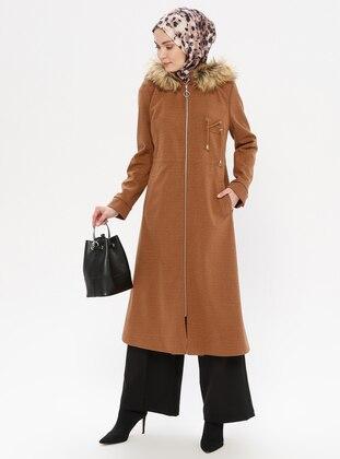 Tan - Fully Lined - Crew neck - Wool Blend - Coat - LOREEN