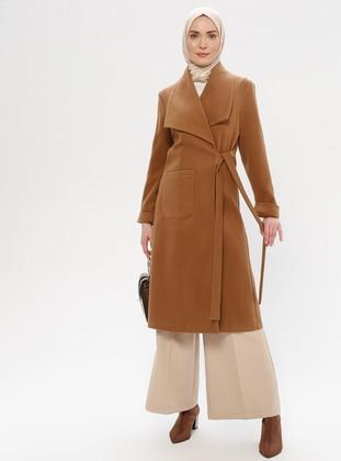 Tan - Fully Lined - Shawl Collar - Wool Blend - Coat - LOREEN