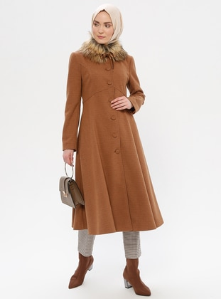 Tan - Fully Lined - Point Collar - Wool Blend - Coat - LOREEN