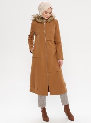Tan - Fully Lined - Wool Blend - Coat - LOREEN