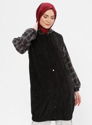 Black - Plaid - Unlined - Topcoat - LOREEN