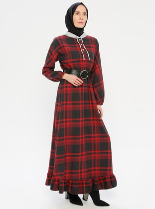 Red - Plaid - Unlined - Dress