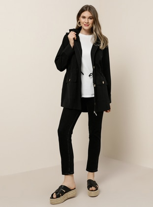 Black - Unlined - Polo neck -  - Plus Size Coat - Alia