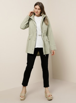 Green - Unlined - Polo neck -  - Plus Size Coat - Alia