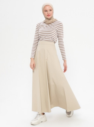 Beige - Unlined -  - Skirt