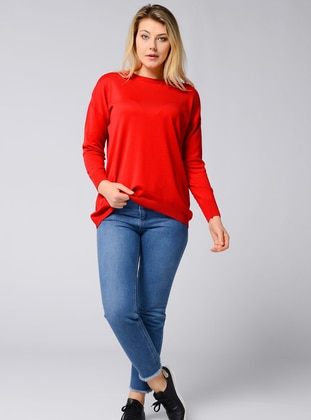 Red - Crew neck - Acrylic -  - Viscose - Jumper