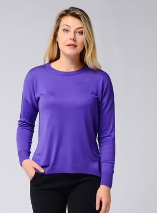 Purple - Crew neck - Acrylic -  - Viscose - Jumper