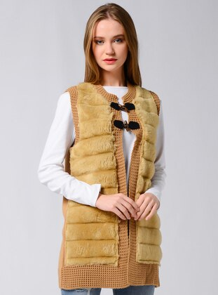 Beige - Unlined - Crew neck - Acrylic -  - Vest