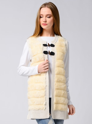 Ecru - Unlined - Crew neck - Acrylic -  - Vest