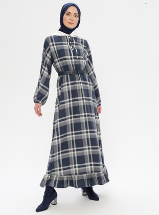 Indigo - Blue - Plaid - Unlined - Dress - LOREEN