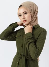 Khaki - Point Collar - Unlined - Dress