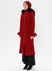 Maroon - Fully Lined - Crew neck - Wool Blend - Coat - LOREEN
