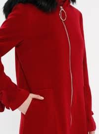 Maroon - Fully Lined - Crew neck - Wool Blend - Coat - LOREEN