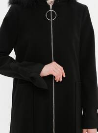 Black - Fully Lined - Crew neck - Wool Blend - Coat - LOREEN