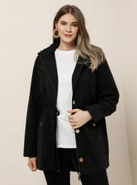 Black - Unlined - Polo neck -  - Plus Size Coat