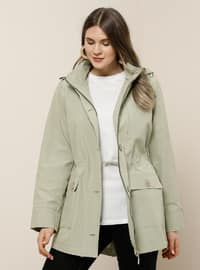 Green - Unlined - Polo neck -  - Plus Size Coat