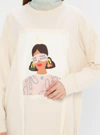 Beige - Crew neck -  - Tunic