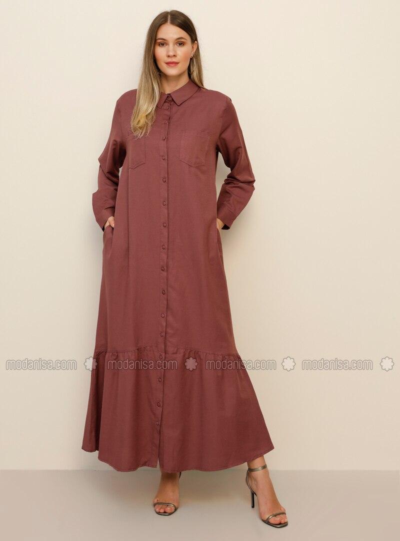 Purple - Unlined - Point Collar -  - Plus Size Dress
