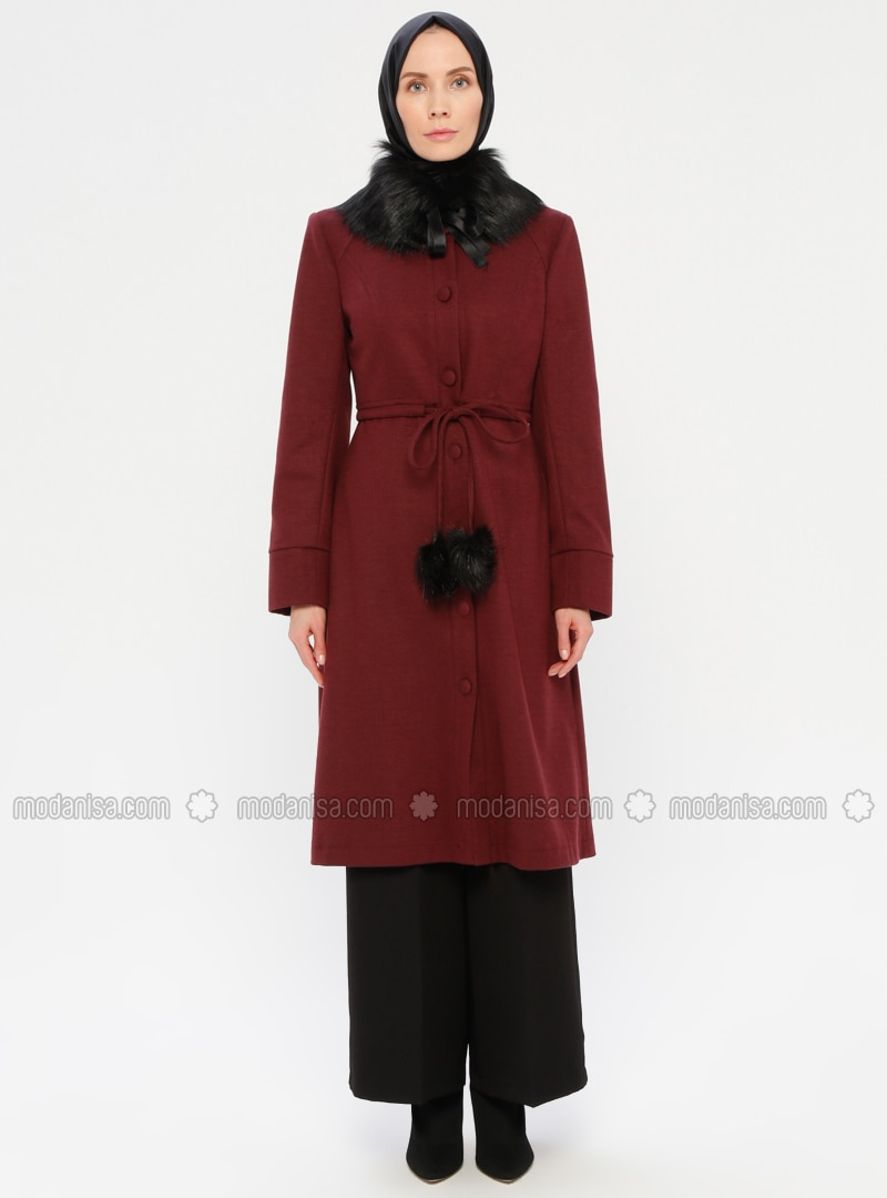 Plum - Fully Lined - Crew neck - Wool Blend - Coat