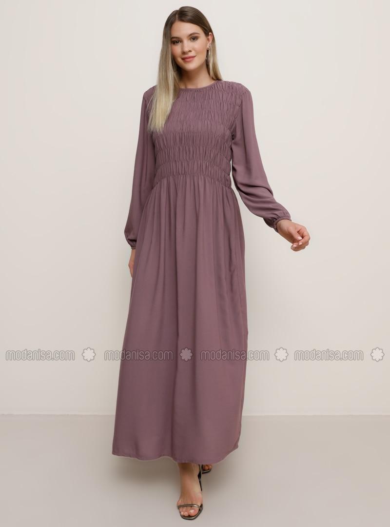 Purple - Unlined - Crew neck - Viscose - Plus Size Dress