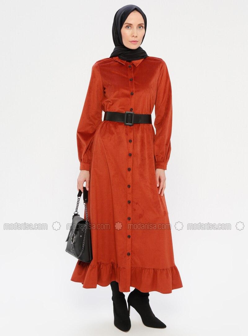 Terra Cotta - Point Collar - Unlined - Dress
