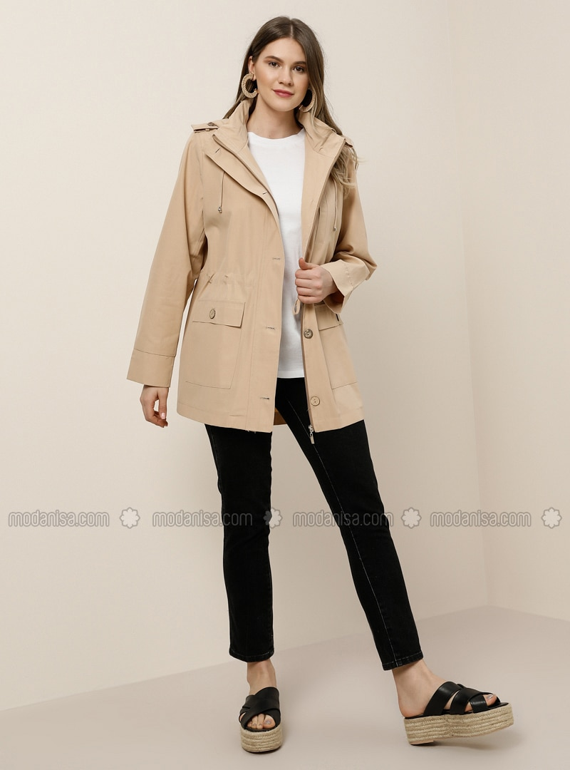 Beige - Unlined - Polo neck -  - Plus Size Coat