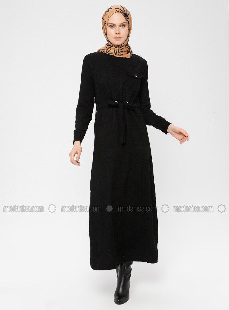 Black - Crew neck - Unlined - Dress