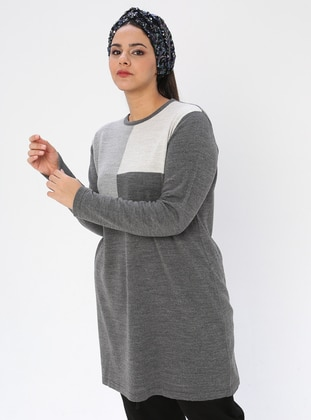 Gray - Crew neck - Acrylic -  - Plus Size Knit Tunics