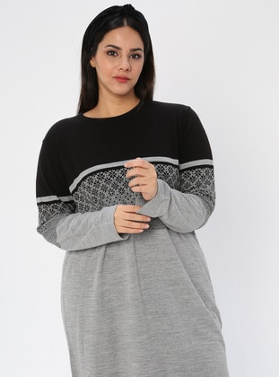 Gray - Crew neck - Acrylic -  - Plus Size Tunic - NOVİNZA