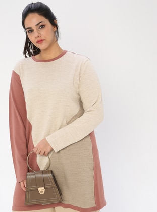 Dusty Rose - Crew neck - Acrylic -  - Plus Size Tunic