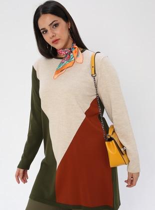 Khaki - Crew neck - Acrylic -  - Plus Size Knit Tunics - NOVİNZA