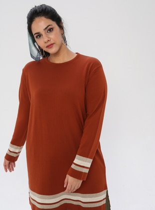 Terra Cotta - Crew neck - Acrylic -  - Plus Size Tunic