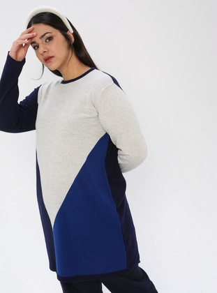 Navy Blue - Crew neck - Acrylic -  - Plus Size Knit Tunics