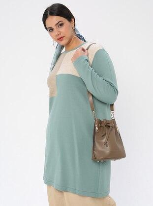 Mint - Crew neck - Acrylic - - Plus Size Knit Tunics