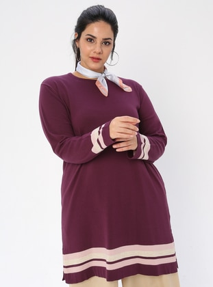 Plum - Crew neck - Acrylic -  - Plus Size Tunic