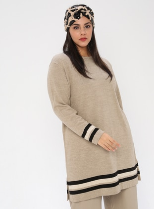 Mink - Crew neck - Acrylic -  - Plus Size Tunic