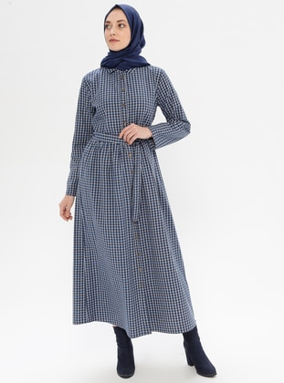 Blue - Checkered - Point Collar - Unlined -  - Dress