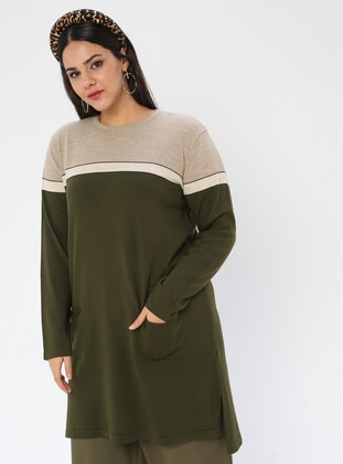 Khaki - Crew neck - Acrylic -  - Plus Size Knit Tunics